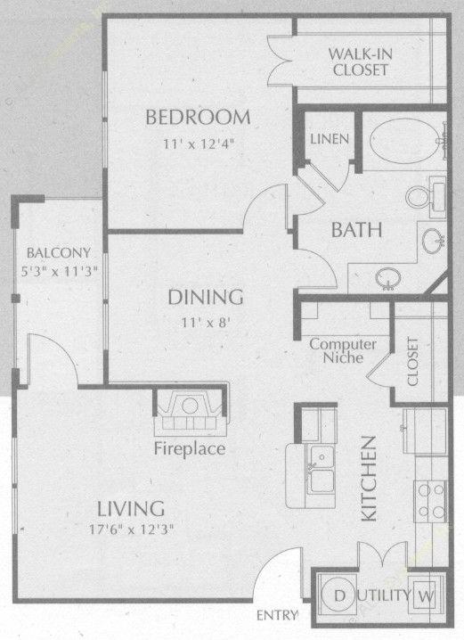 815 sq. ft. Trinity floor plan