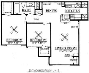 804 sq. ft. B1/60% floor plan