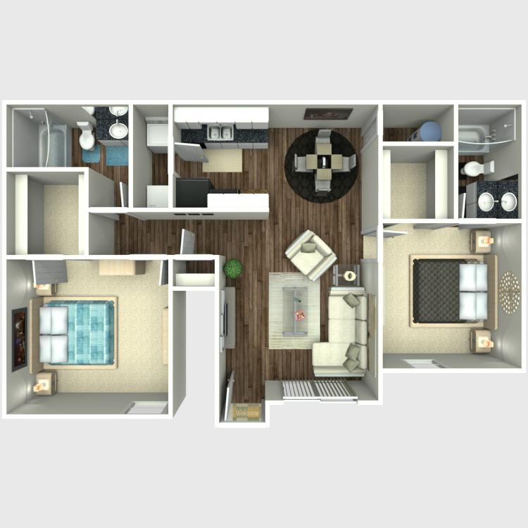 877 sq. ft. B2 floor plan