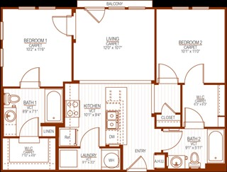 821 sq. ft. floor plan