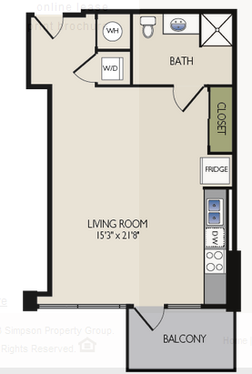 618 sq. ft. C floor plan