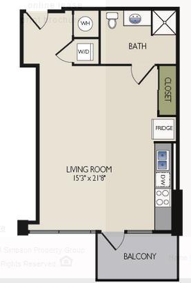 618 sq. ft. C floor plan