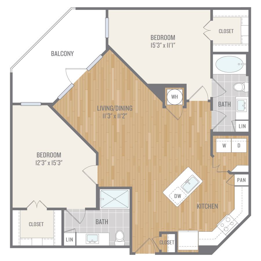 1,155 sq. ft. B2 floor plan