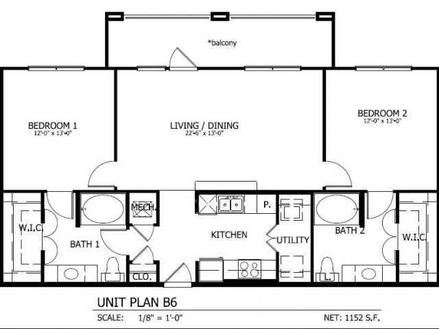 1,152 sq. ft. to 1,223 sq. ft. B.6 floor plan