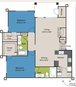 1,110 sq. ft. B2 floor plan