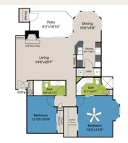 1,170 sq. ft. to 1,171 sq. ft. B3 floor plan