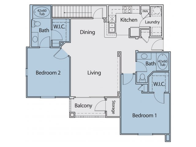 1,135 sq. ft. B2-I floor plan