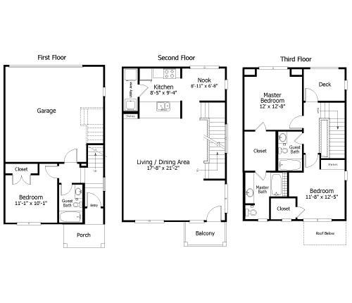 1,479 sq. ft. to 1,870 sq. ft. 3THC1GG floor plan