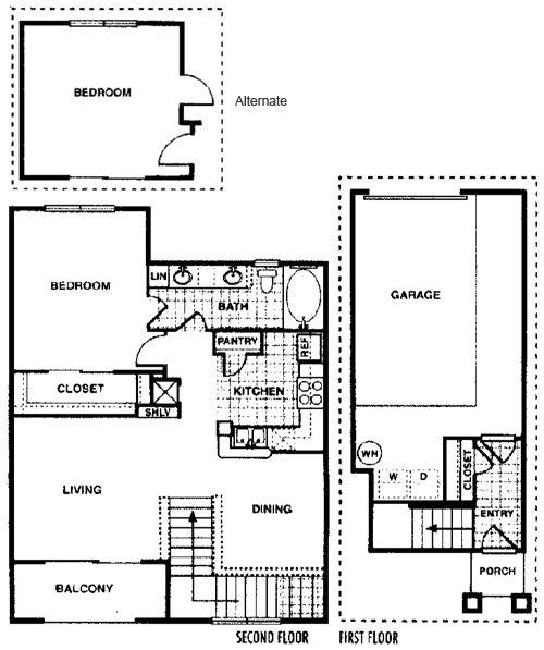 878 sq. ft. Birch B3 floor plan
