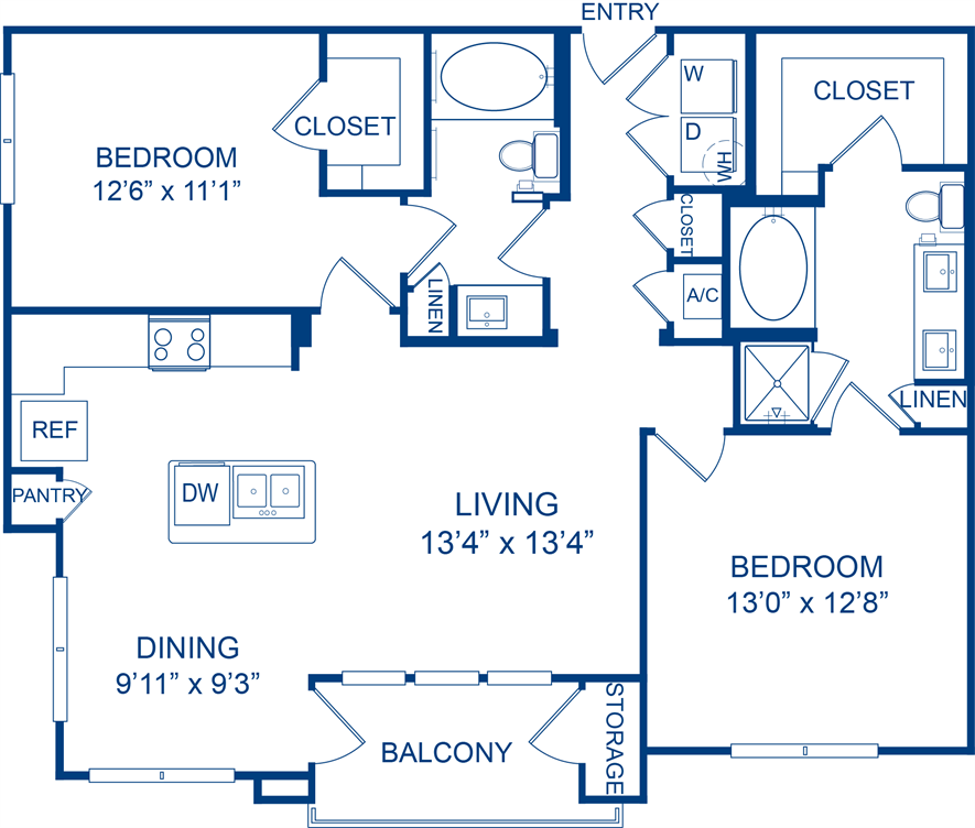 1,151 sq. ft. Tans Aster floor plan