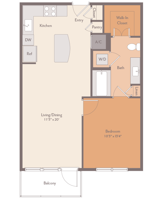 752 sq. ft. Hermann-A2 floor plan