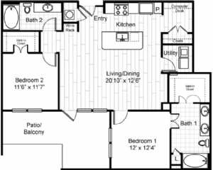 1,185 sq. ft. to 1,243 sq. ft. B4 floor plan