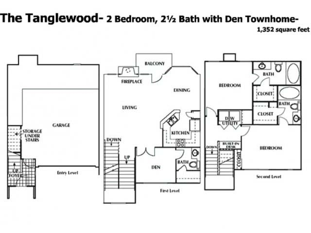 1,352 sq. ft. DTH floor plan