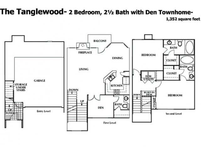 1,352 sq. ft. DTH floor plan