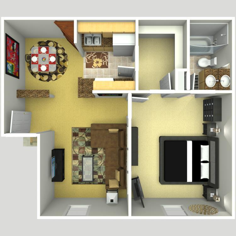 612 sq. ft. A/50% floor plan