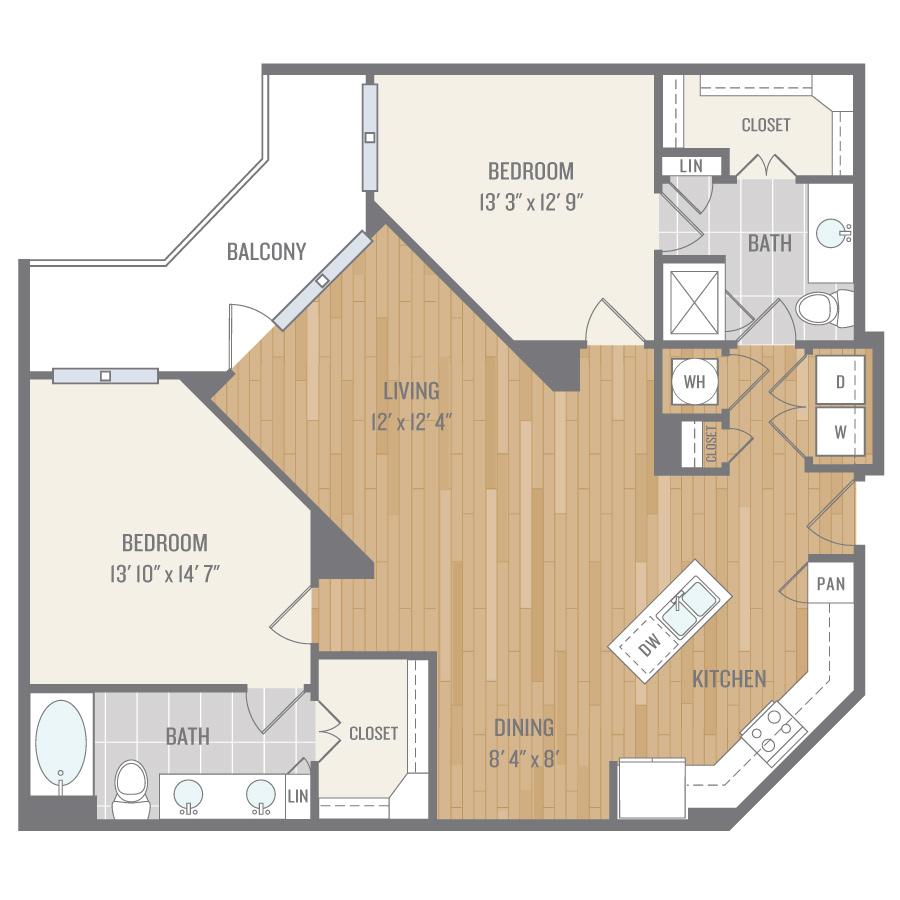 1,259 sq. ft. B4 floor plan