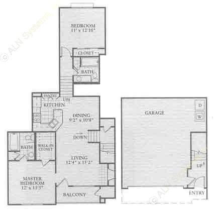 1,191 sq. ft. B1 floor plan