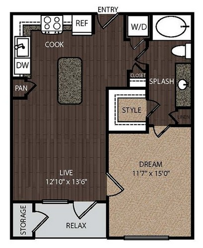 677 sq. ft. A1A floor plan