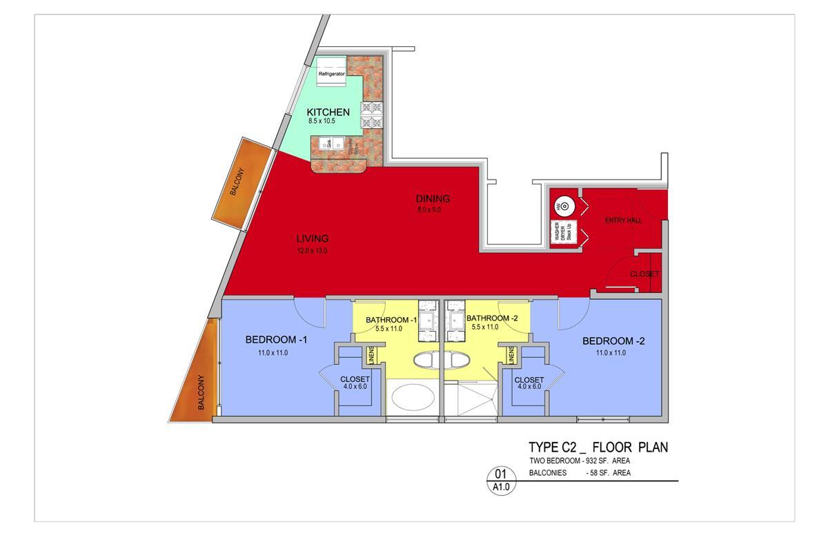 990 sq. ft. Oak floor plan