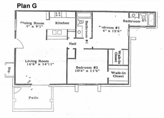 951 sq. ft. G floor plan