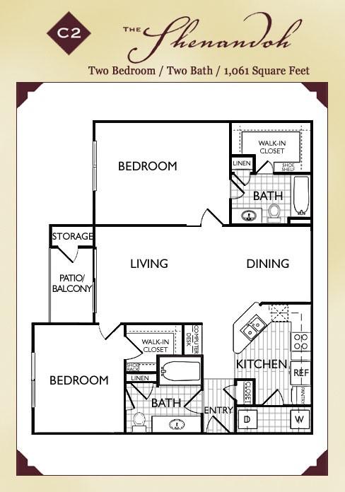 1,061 sq. ft. Shanandoah floor plan