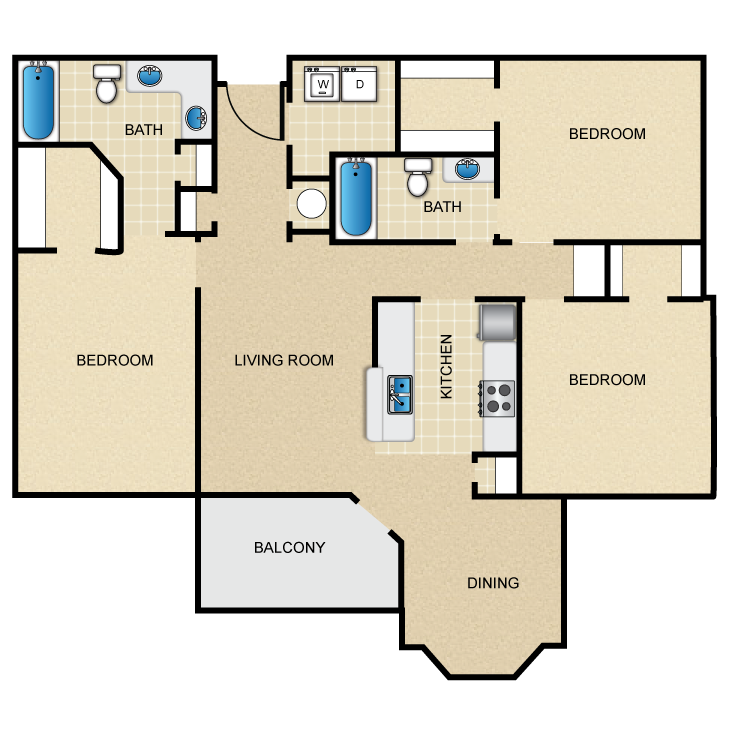 1,374 sq. ft. floor plan