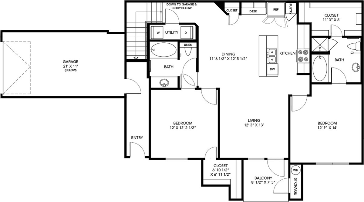 1,251 sq. ft. B2 floor plan