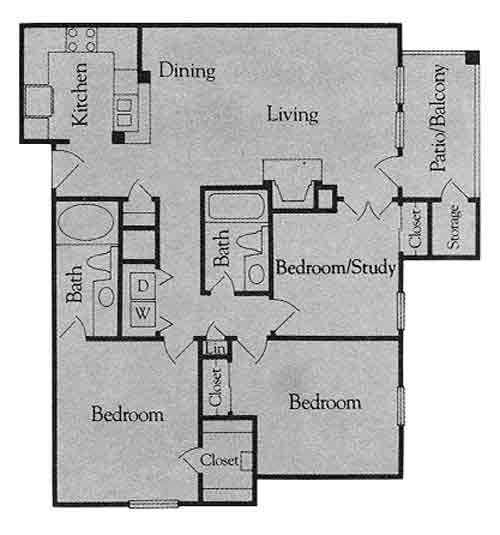 1,215 sq. ft. B4 floor plan