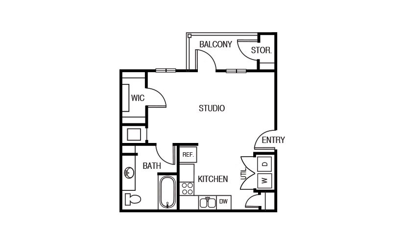 505 sq. ft. E1 floor plan