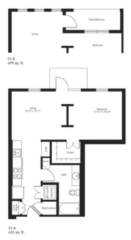633 sq. ft. S1A floor plan