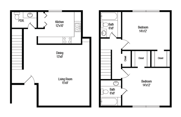 1,074 sq. ft. B7 floor plan