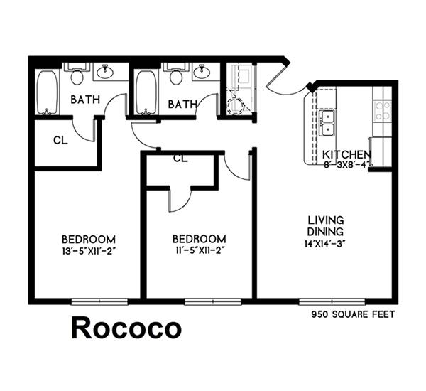 950 sq. ft. Rococo floor plan