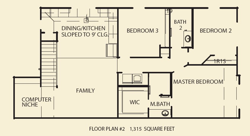 1,315 sq. ft. C2 floor plan