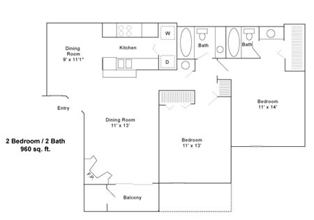 960 sq. ft. C floor plan