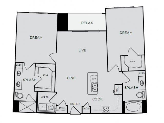 1,132 sq. ft. C1a floor plan