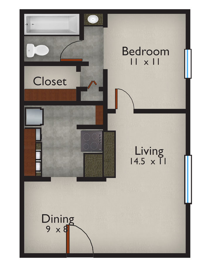 548 sq. ft. Adriatic floor plan