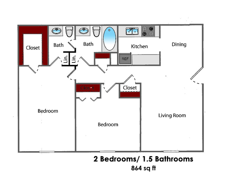864 sq. ft. 2BR All Bills Paid floor plan