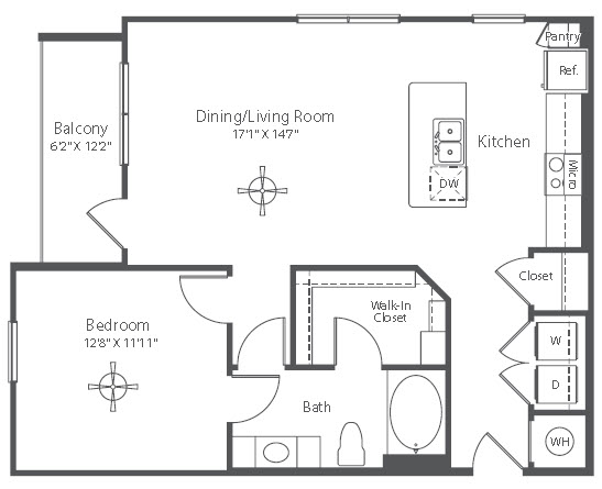 861 sq. ft. A13 floor plan