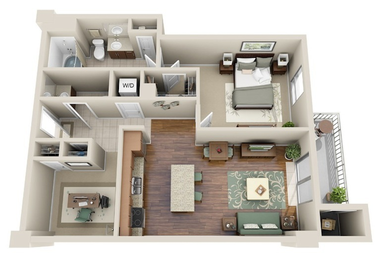 848 sq. ft. A7 floor plan