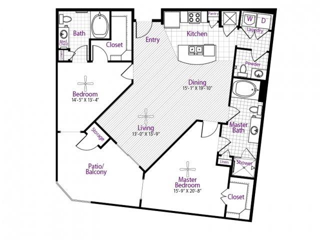1,257 sq. ft. floor plan