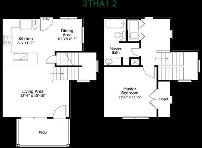 845 sq. ft. to 980 sq. ft. 3THA1-2 floor plan
