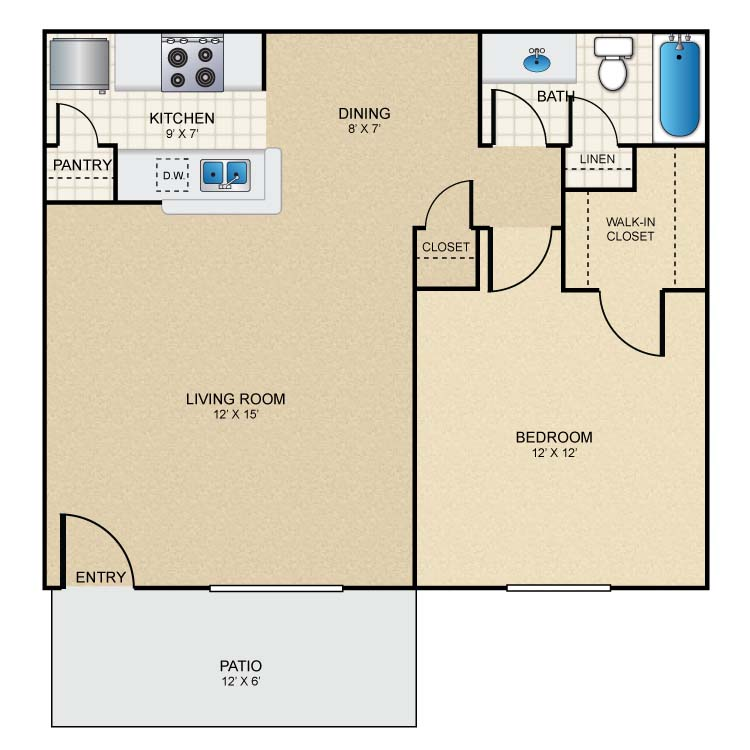 570 sq. ft. A1 floor plan