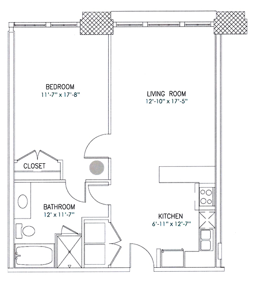 801 sq. ft. Newton floor plan