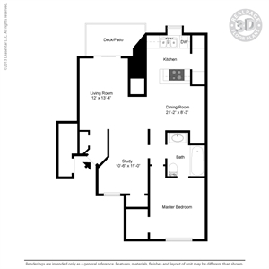 836 sq. ft. B3 floor plan