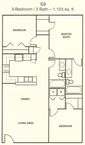 1,123 sq. ft. C2 floor plan