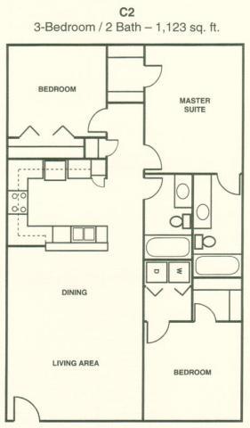 1,123 sq. ft. C2 floor plan