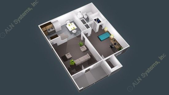 643 sq. ft. floor plan