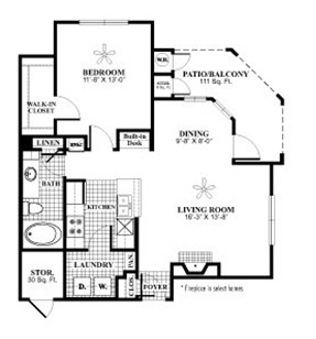 813 sq. ft. A7 floor plan