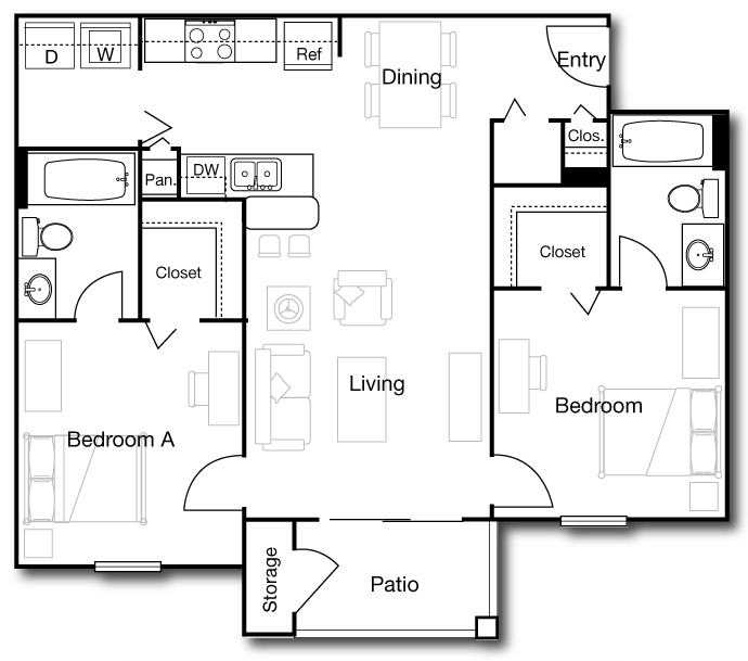 946 sq. ft. B1 floor plan