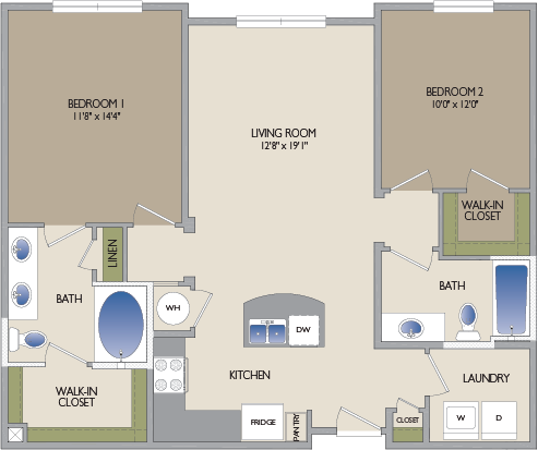 1,063 sq. ft. Richmond floor plan